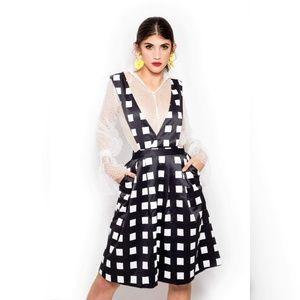 Blue black and white print bold checkers dress